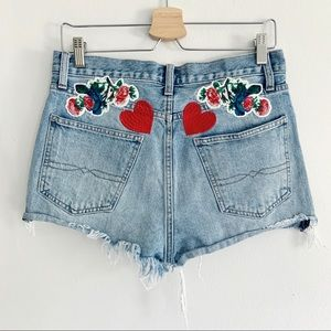 Lucky Brand High Rise Embroidered Cutoff Shorts